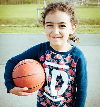 basketball girl holding ball