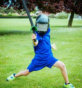 fencing boy wearing helmet
