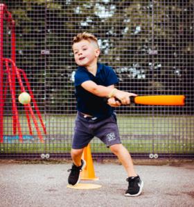 Baseball softball Gallery child preparing to swing