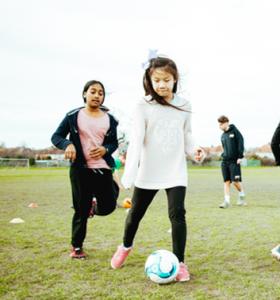 Football Gallery Children running with football