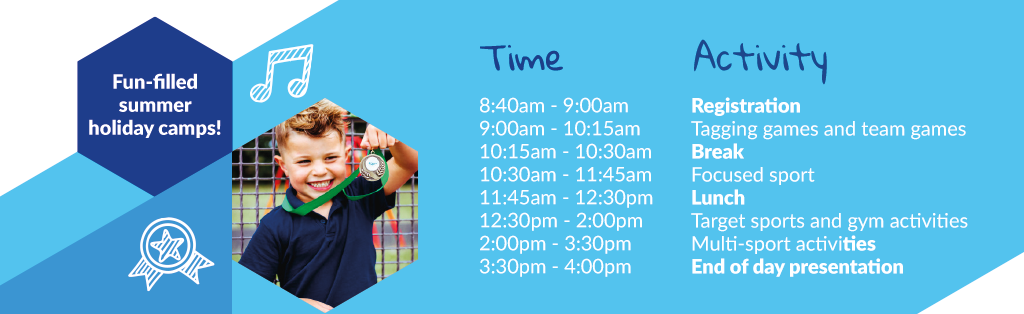 Premier Education Multi-activity Holiday Camp timetable.